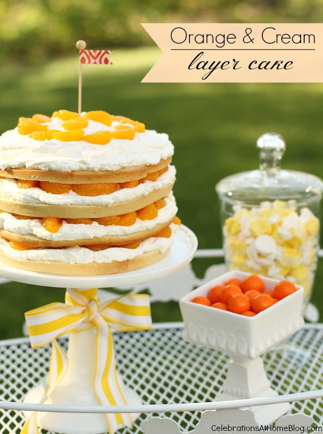 orange & cream layer cake #dessert #cake
