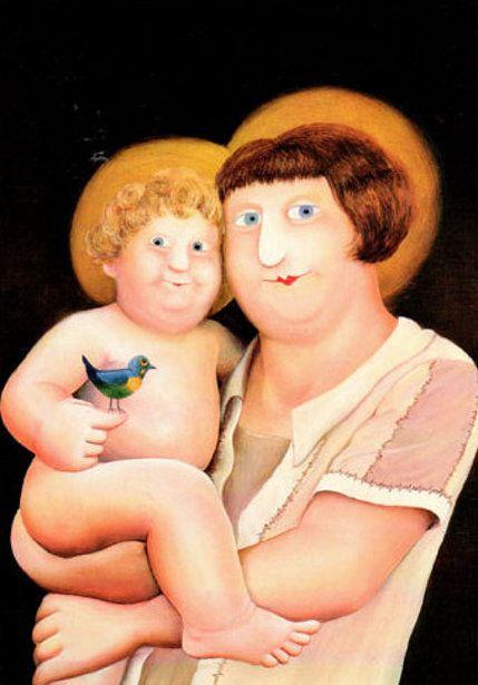 Beryl Cook (1926 – 2008, English) - Virgin and child