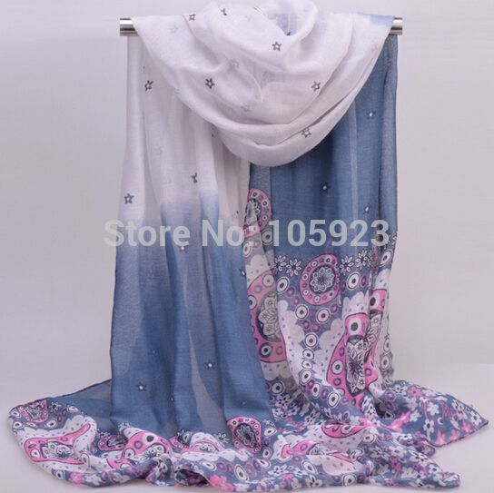 ombre flower wrap scarf long printed scarf hijab shawl 180cm X 90cm  6 color fashionable 10pcs/lot