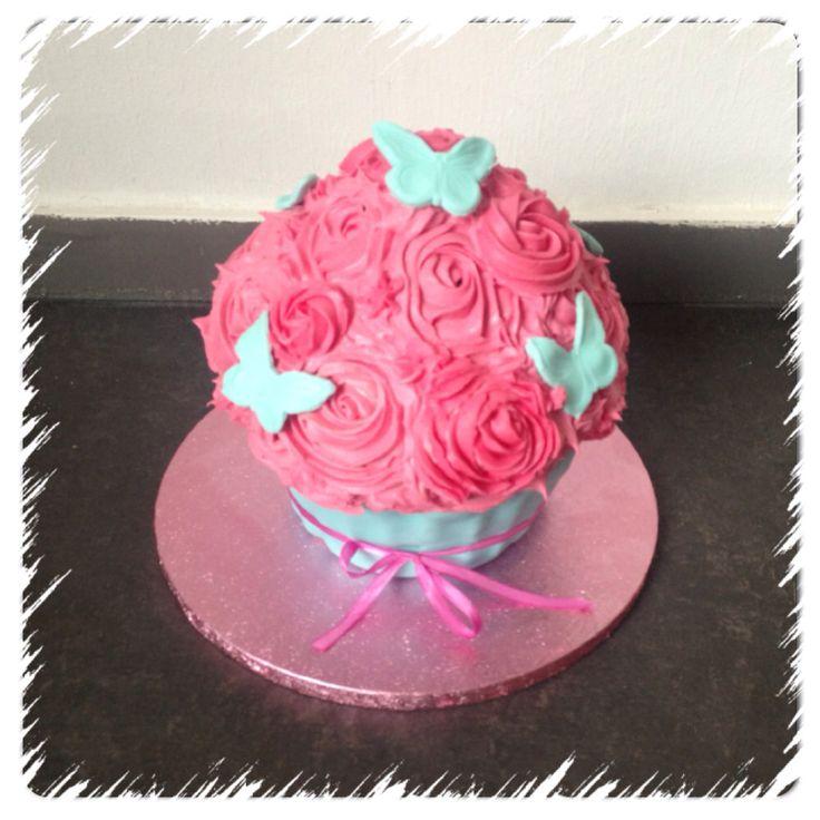 Giant cupcake roze / turqoise