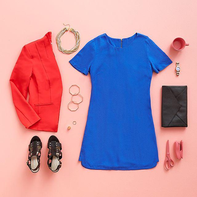Dazzling Blue Crepe Shift Dress and Tomato Red Blazer. #WorkWear #WorkStyle #Flatlay