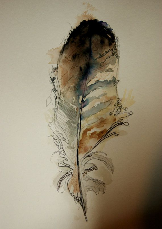 Watercolor Feather Painting Illustration. £15.00, via Etsy.