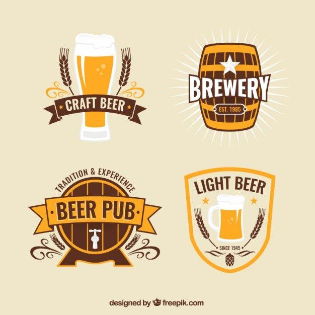 Insignias de la cerveza en el estilo vintage Vector Gratis