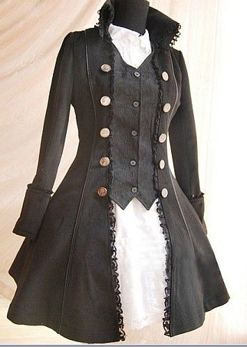 Black lolita coat. How to deal with a coat/jacket that has gotten too small: wear a matching vest under it!