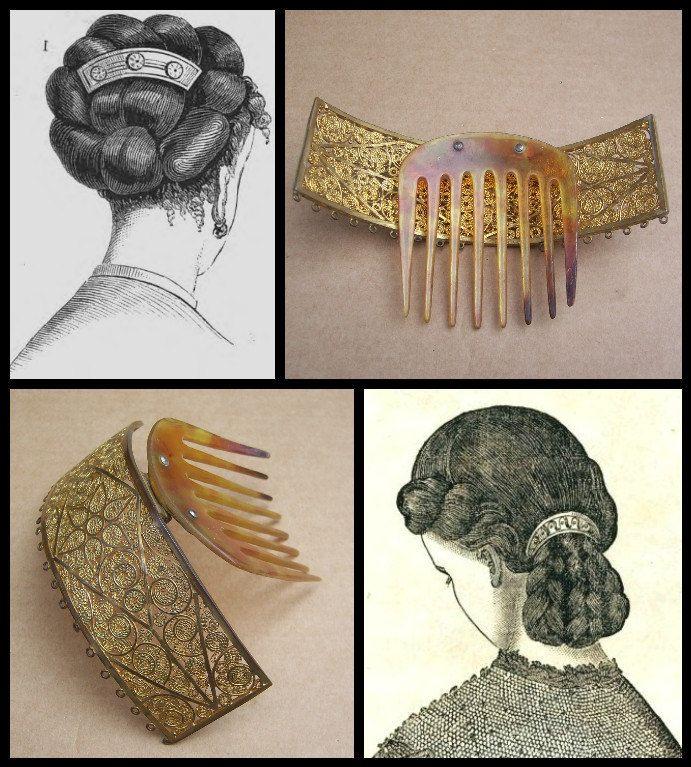 Antique hair comb hinged brass Victorian hair by ElrondsEmporium