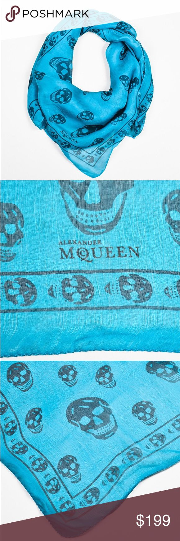Alexander McQueen teal skull print silk scarf ALEXANDER MCQUEEN   TEAL AND DARK BLUE SKULL PRINT SCARF Iconic Alexander McQueen skull scarf in a bright and fun teal hue. Navy blue pattern with a repeating border. A perfect choice for adding a pop of color and a touch of edge to a spring or summer ensemble. Square shape with rolled edges. Brand name printed at the corner.  Missing fabrication and care tags. Minor loose threads around the edges. No other visible signs of wear and tear…