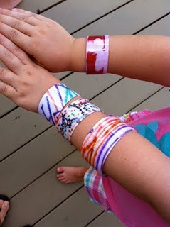 plastic bottle cuff bracelet. Great idea for kids to make to give to friends!!!