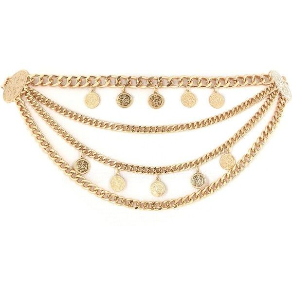 River Island Gold tone coin trim festival waist belt ($15) ❤ liked on Polyvore featuring accessories, belts, sale, coin belt, waist belt and river island