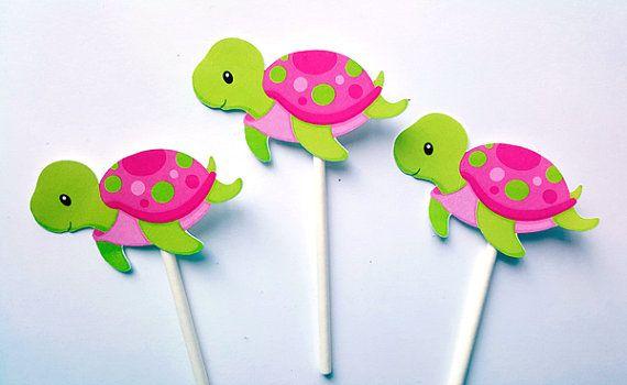 Tortuga Cupcake Toppers  cumpleaños de la Tortuga  Tortuga