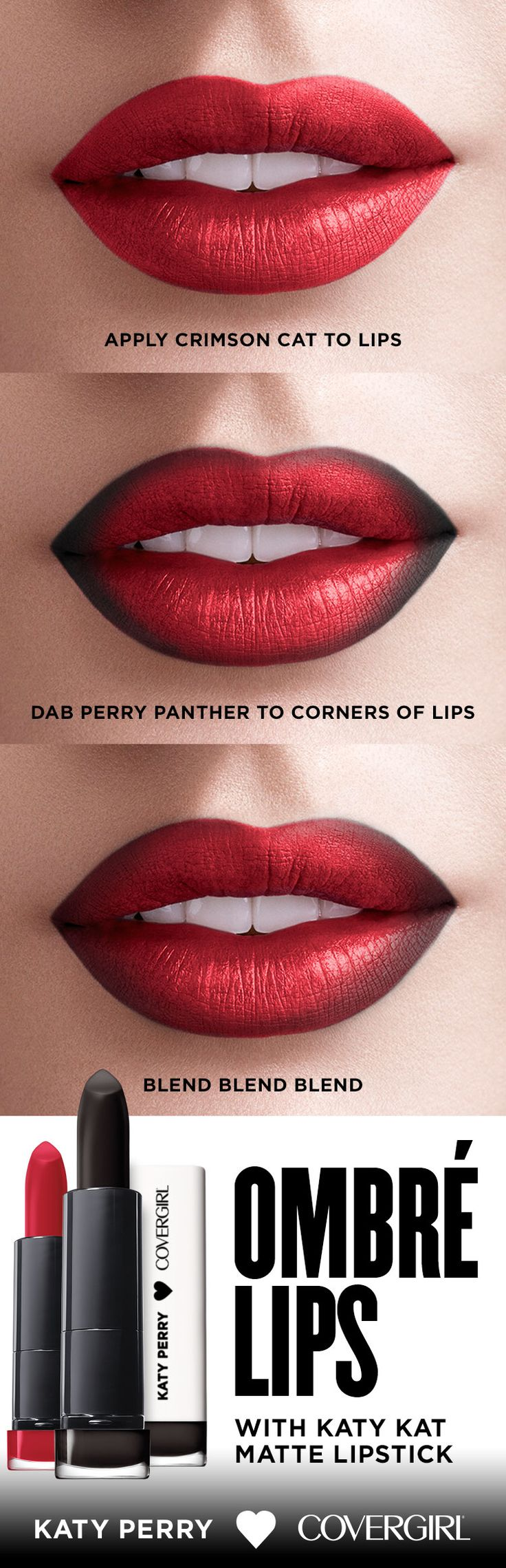 Ready for an easy, breezy ombré? Apply Katy Kat Matte in Crimson Cat, then dab…