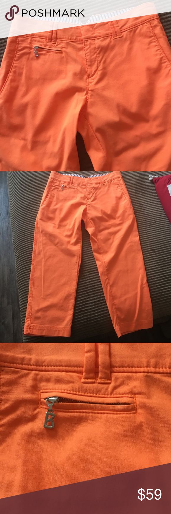 Golf Bogner NWT trousers/golf pants BOGNER!!! A top brand in sportswear with no question!!! These orange pants are new with tags $319 a great find! U ladies who golf no these well. Wear for sports or leisure this color orange is fabulous shade and stands out in sports wear without a doubt! These pants are ridiculously discounted so please don't offer me less. Bogner Pants Capris
