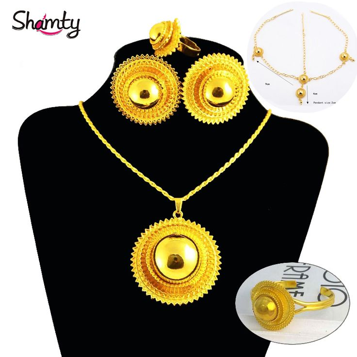 Ethiopian bridal jewelry sets Women Trendy 24k gold plated setsAfrican /Nigeria/Sudan/Eritrea/Kenya/allergy Free Shipping