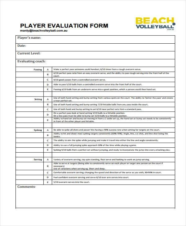 Volleyball Player Evaluation Form Google Search Evaluation Form Volleyball Players Volleyball