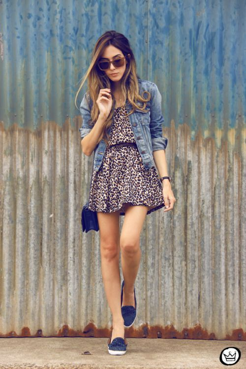 jean jacket and leopard dress