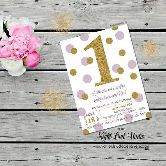 Lavender and Gold First Birthday Invitation Pastel Purple