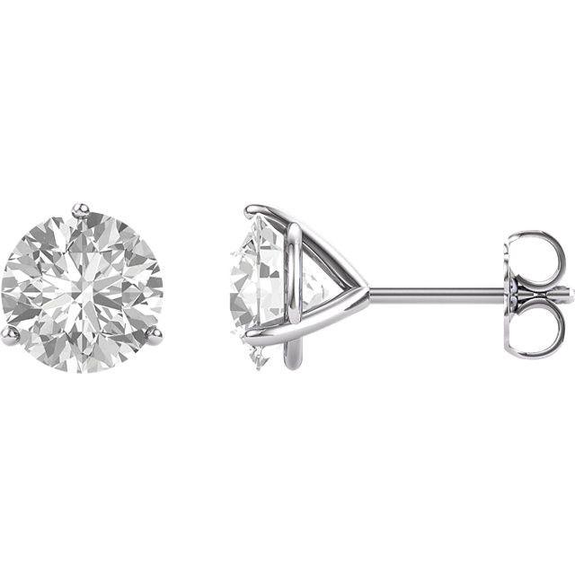 14K White 8mm Round Forever One™ Moissanite Earrings 4CT DEW