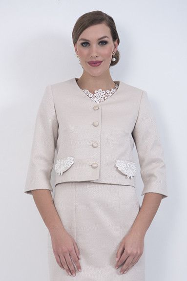 Champagne Jacket – The Champagne cropped boxy jacket has cream lace trim to match the Champagne dress. It would also look nice with the Flossy micro skirt SK901 and matching cami.