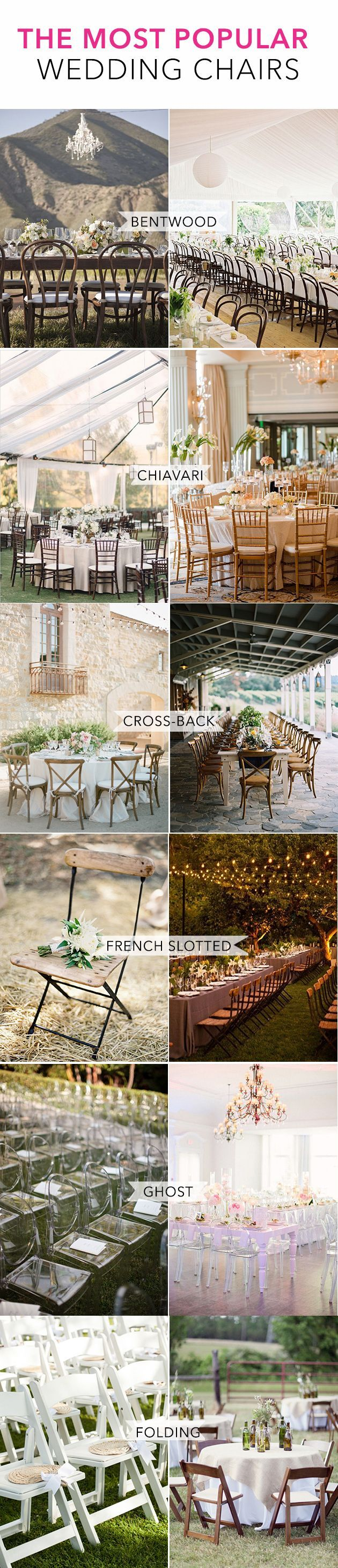 A guide to the most popular kinds of chairs brides use at their wedding ceremonies and receptions! | Brides.com