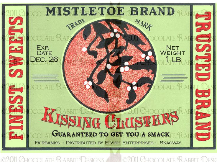 Christmas Candy Jar Label Download Kissing Clusters High Resolution 300 dpi. $2.25, via Etsy.