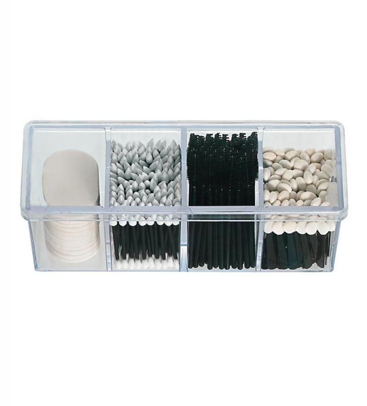 Pack all your essential disposable beauty tools and products into this smart four-compartment organiser with lid. Beauty professionals recommend this organiser for storing disposable mascara wands, applicators and sponges. Box measure 25 x 8 x 10 cms. £12.99