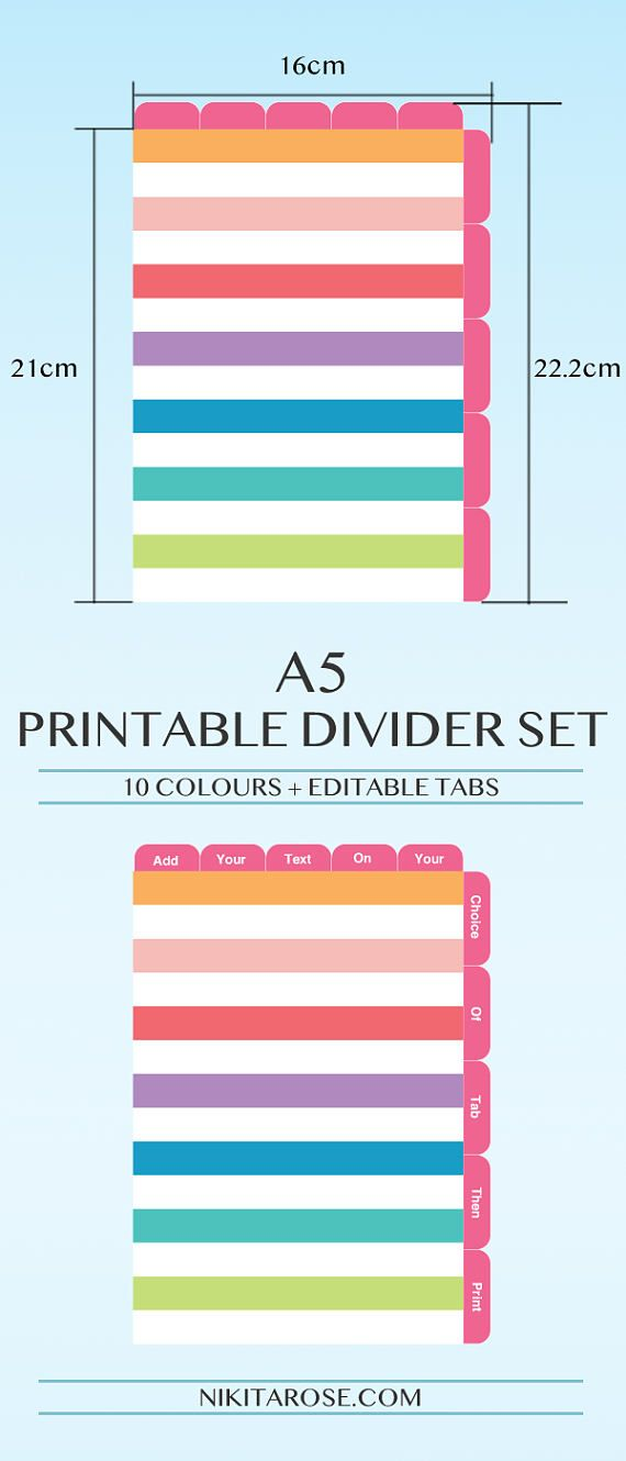 image regarding Printable Index Tabs referred to as A5 Planner Dividers 5 Best Tabs 5 Aspect Tabs Words Editable