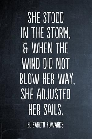 she stood in the storm and when the wind did not blow her way, she adjusted her sails ~ Elizabeth Edwards