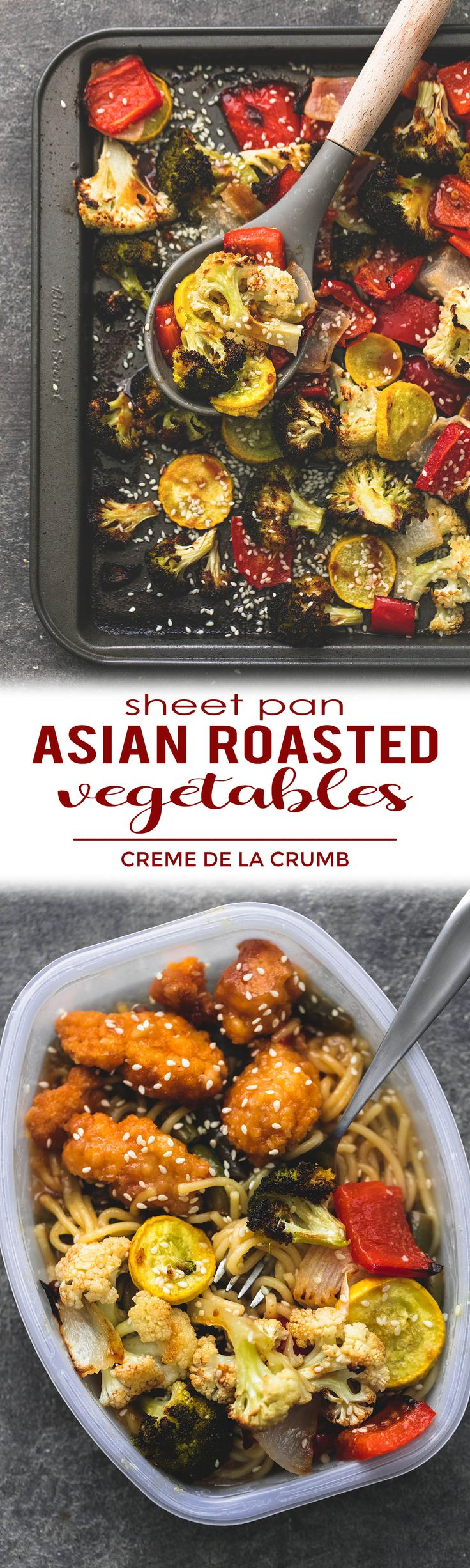 This simple recipe for sheet pan roasted Asian vegetable medley is tasty, easy, and ready in about 20 minutes. The perfect side dish for any favorite Asian entree! | lecremedelacrumb.com