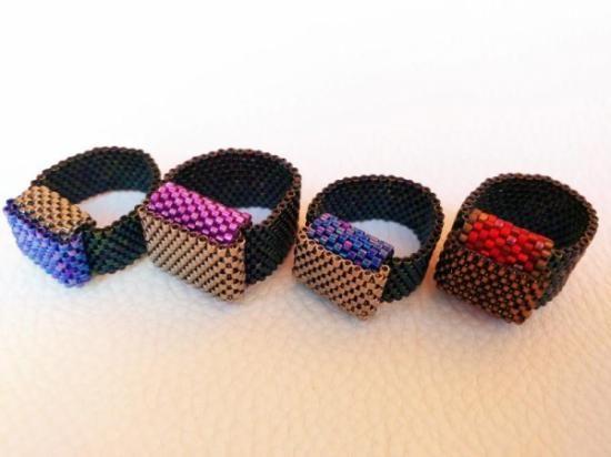 anillo bisutería artesanal delicas miyuki  miyuki -delicas-,swarosvki peyote miyuki