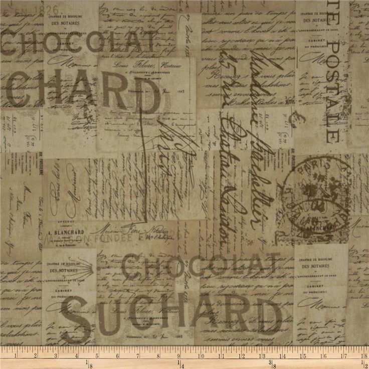 Tim Holtz Eclectic Elements French Script Neutral from @fabricdotcom  Designed by Tim Holtz, this cotton print fabric is perfect for quilting, apparel, crafts, and home decor items. Colors include beige, khaki and brown.