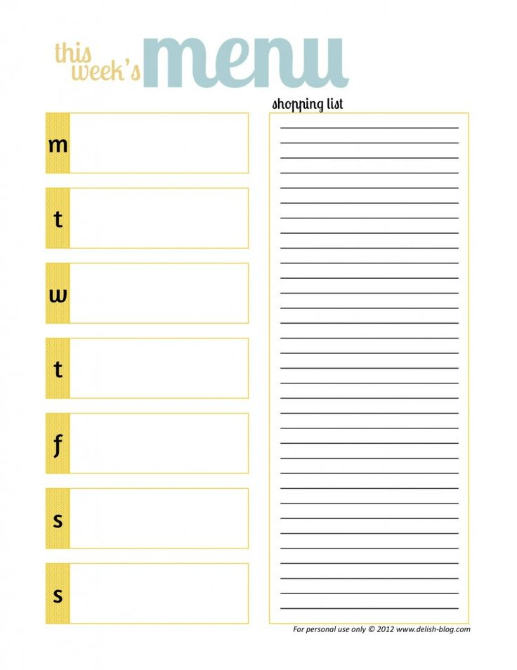 Printable Menu Planner 6 Best Images Of Free Printable Meal