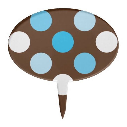 Dots - Blue with Brown Background Cake Toppers.    Add your own text - Size of dots can be changed to your liking