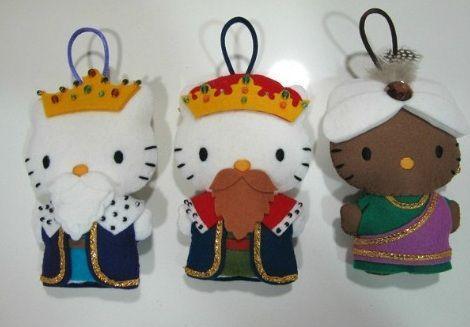 Hello Kitty munecos de fieltro navidad - Hello Kitty muñecos de fieltro Navidad
