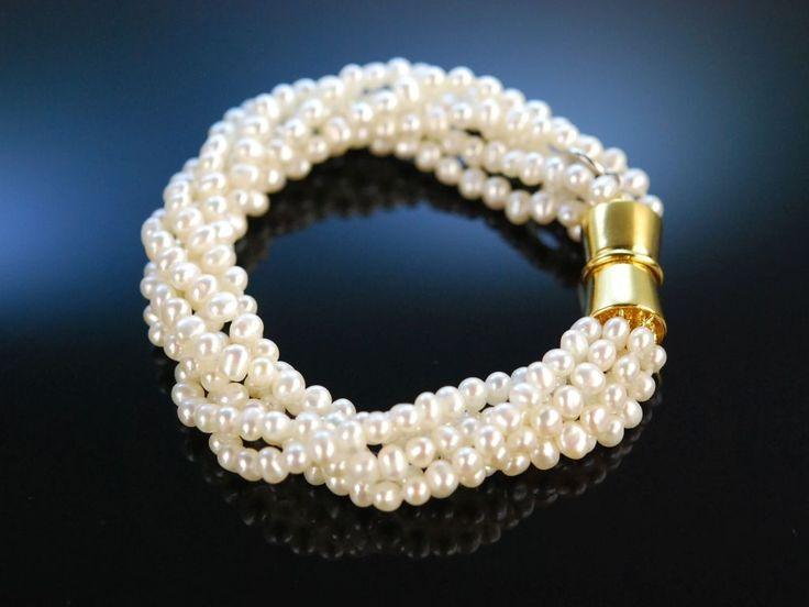 Feine Perlen Armband 6 reihig weiße Zuchtperlen Silber 925 verg