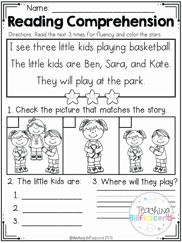 Kindergarten Reading Comprehension Worksheets Pdf original