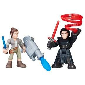 Young Jedi can take adventures into their own hands with the Star Wars Galactic Heroes figures! They can imagine epic match-ups between the heroic Rey and the villainous Kylo Ren. Power up these figures with removable arms that can snap on and off. Get Rey armed and ready with her mega blaster and Kylo Ren geared up with his force energy push and signature lightsaber. Then help Rey launch her projectile to save the galaxy! For even more fun, look for all of the Star Wars Galactic Heroes…