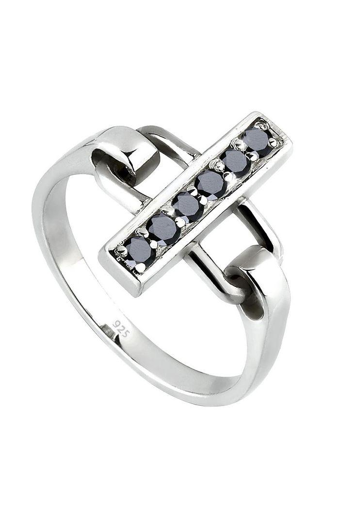 """Moderner Silberring mit einem quer gefassten Steg, bestückt mit 6 funkelnden Zirkoniasteinen in schwarz (Durchmesser je 2mm). Ring aus feinem 925er Sterlingsilber, alle Oberflächen hochglanzpoliert.  Weitere Hilfe zur Ringgröße:  Angegebene Größe in mm entspricht """"Ring Innen-Umfang"""", Umrechnung in """"Ring Durchmesser Ø"""" wie folgt:  52mm Umfang = 16,5mm Ø 54mm Umfang = 17,2mm Ø 56mm Umfang = 17,8m..."""