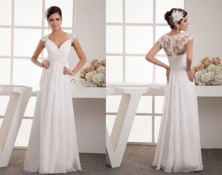 Minőségi v-nyakú csipke vállú esküvői ruha ,menyasszonyi ruha ingyen méretre készítve 4-16+++ GFFFF8745554