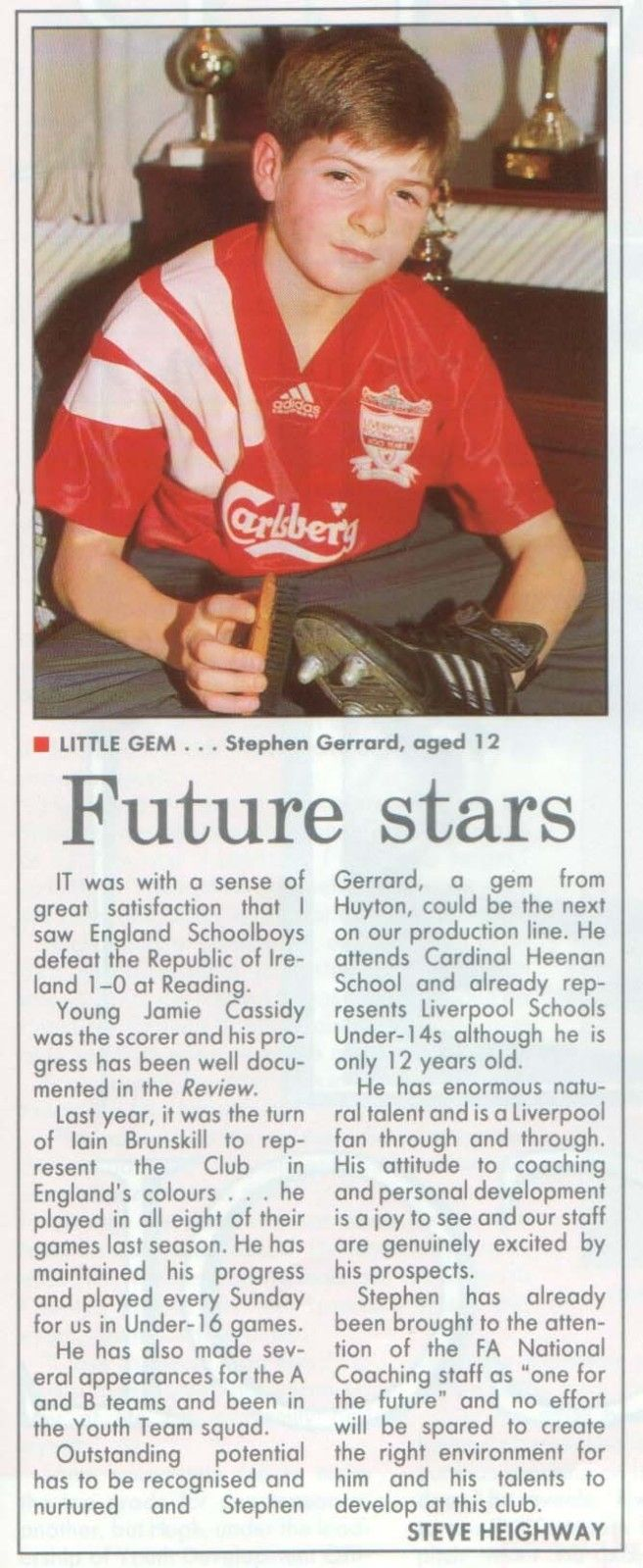 An article from 19 years ago about Steven Gerrard