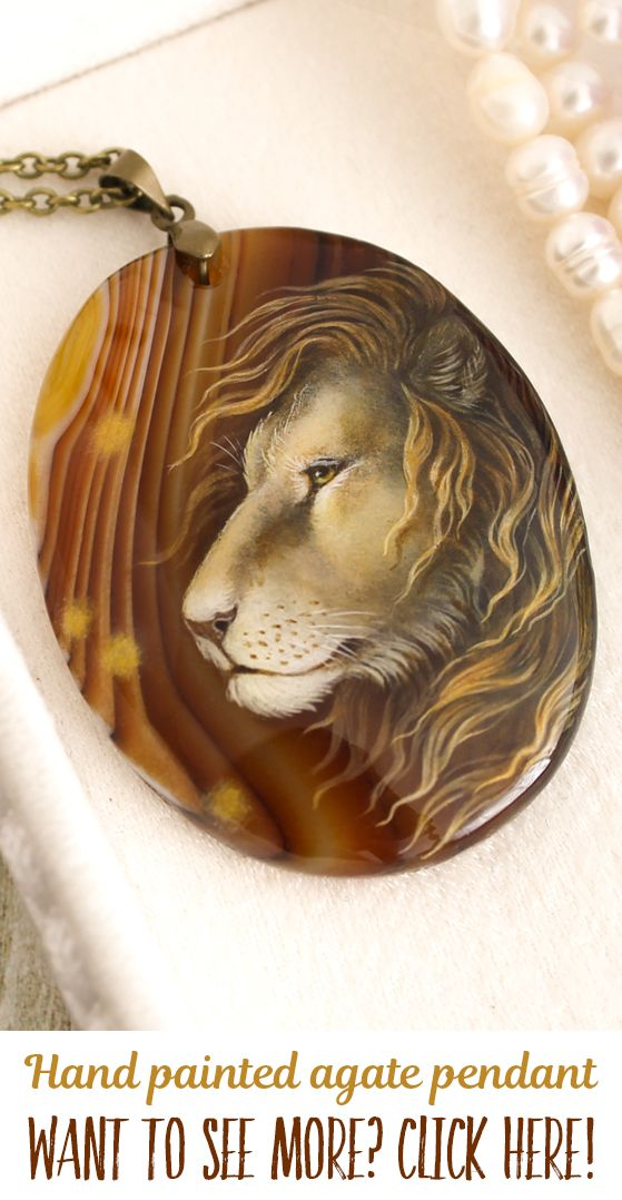 The Lion pendants. Hand painted by oil paints agate an stone. Each pendant is unique, I don't make any copy. You can buy it in my Etsy shop, I make sales each month. Usually items sells very fast, so subscribe me in social media and you always will be informed about all sales and items! My nickname on Facebook, Instagram and Devianart is same - LunarFerns