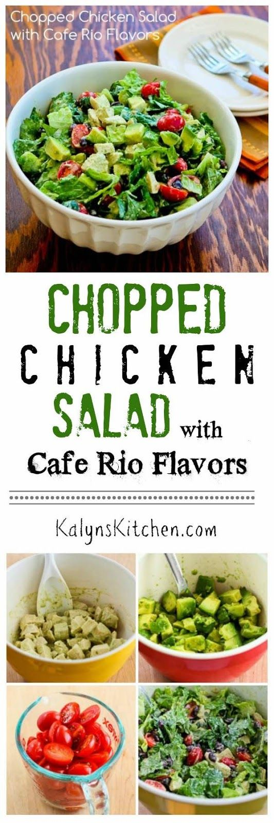 For everyone who loves the salads from Cafe Rio, now you can have that Cafe Rio taste in your mouth whenever you want it with this Chopped Chicken Salad with Cafe Rio Flavors, and this delicious salad is low-glycemic, gluten-free, and South Beach Diet friendly. If you want a low-carb salad, just omit the black beans. [found on KalynsKitchen.com] #CafeRioSalad #CafeRioChickenSalad