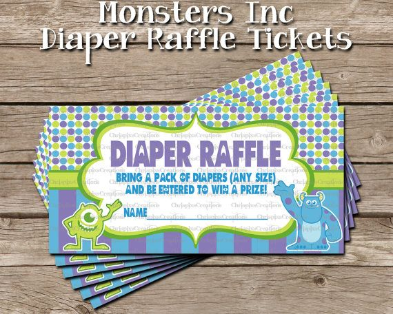 INSTANT DOWNLOAD- Monsters Inc Baby Shower Diaper Raffle Tickets