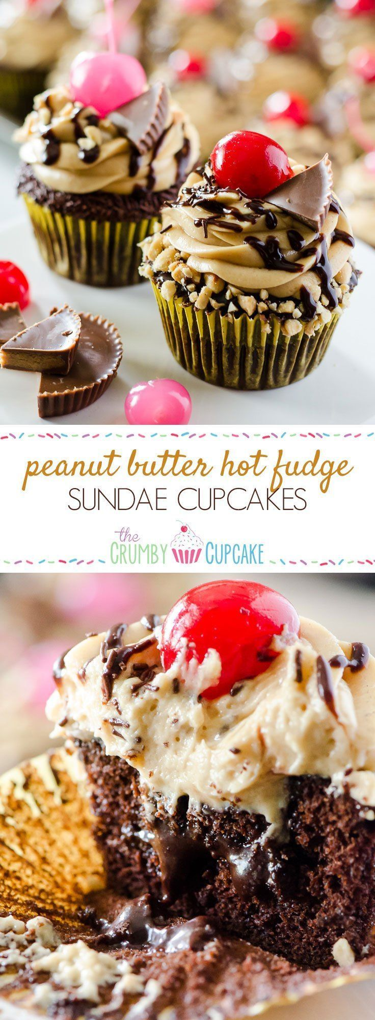 Take a bite of cupcake heaven! Tender chocolate cupcakes, stuffed with hot fudge sauce and topped with peanut butter mousse, these decadent Peanut Butter Hot Fudge Sundae Cupcakes won't melt like ice cream...but you might need a glass of milk to wash them