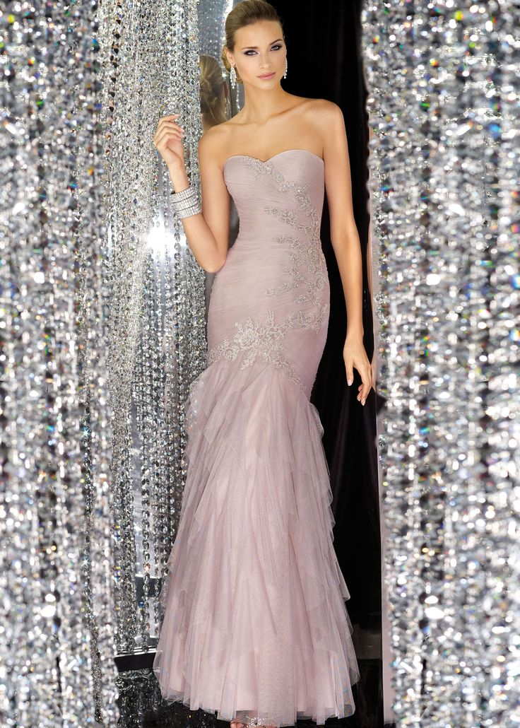 Shop NEW 2014 Alyce Paris 5542 strapless silver lace mermaid prom dresses available now at RissyRoos.com..