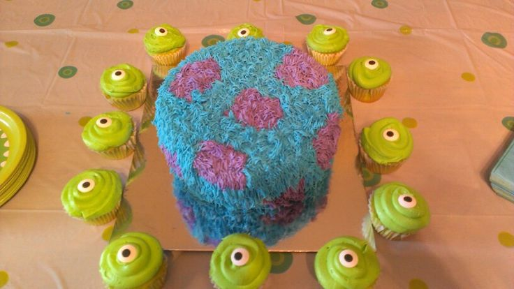 Monsters Inc. 1st birthday cake for my Elliott Brady!  Very easy!