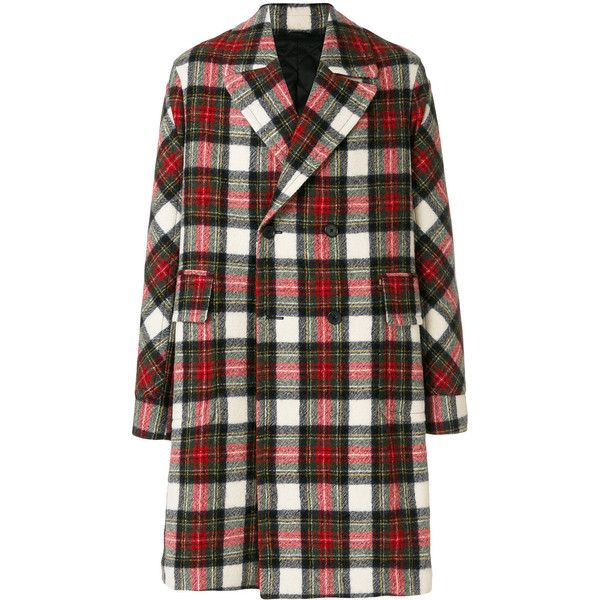 Stella McCartney Osborn checked coat (10,385 ILS) ❤ liked on Polyvore featuring men's fashion, men's clothing, men's outerwear, men's coats, mens white coat, mens oversized coat and mens double breasted coat