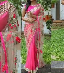 Bikaw Embroidered Pink Net Traditional Party Wear Saree. his sari has beautiful design work with bright colour essence and also includes latest fashion trends. Beautiful floral design with different colour combination makes this sari a perfect one for your wardrobe. This sari represents Indian culture with latest fashion trends. All our sari's are slim fit and you can adjust it as per your requirements. This sari is also a good choice for gifting to your loved ones.