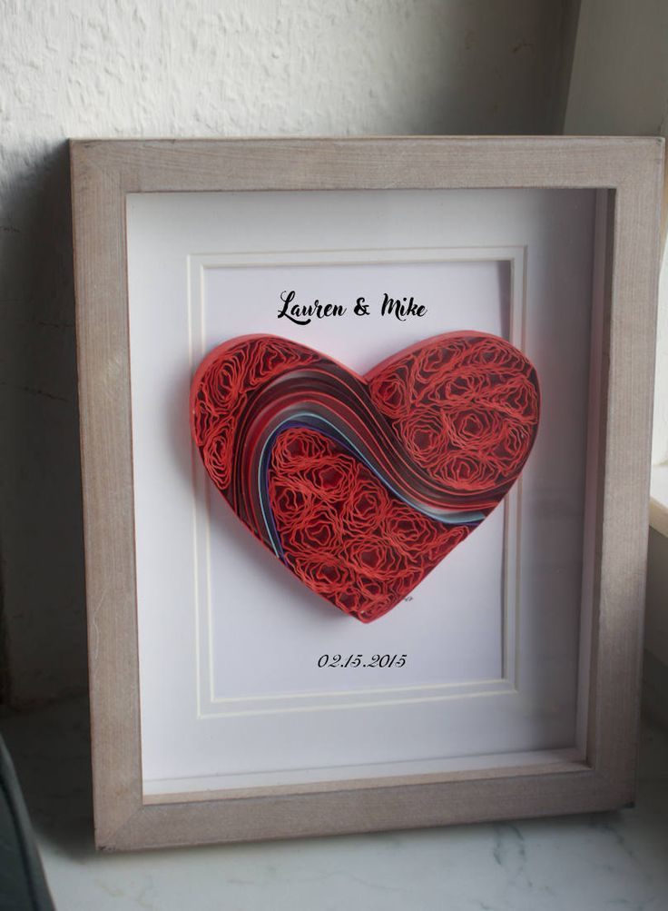 """Quilled Paper Art """"My heart Beats for you"""", anniversary gifts for her, paper anniversary gifts for couples, heart, love gifts, office decor by WindsweptQuilling on Etsy"""