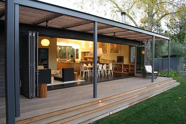 nice wide flat decking, roof (trelluce could be extension of actual screened-in porch roof)