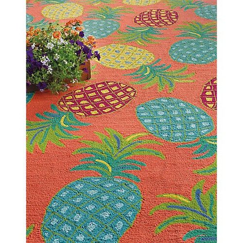 Pineapples Coral Orange Green Indoor Outdoor Area Rug In