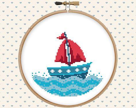 Nautical cross stitch pattern pdf summer cross por GentleFeather
